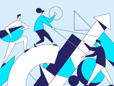 Teamwork design art website minimal illustrator vector web illustration