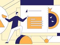 Training website design minimal illustrator web art vector illustration