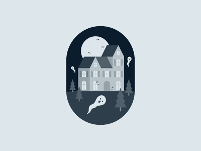 Haunted house - Prompt 51 vector illustration illustrator warmup scarily haunted house haunted spooky ghost prompt 51 night illustration flat vector illustration house illustration halloween dribbbleweeklywarmup