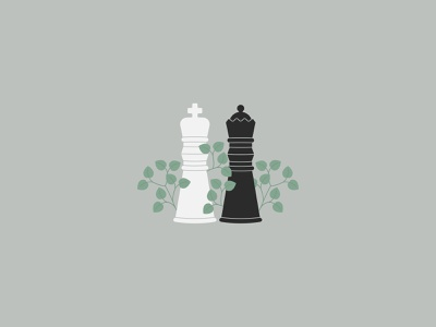 Side by side board game queen king chess plant vegetal daily illustration daily challange vector vector illustration illustrator illustration