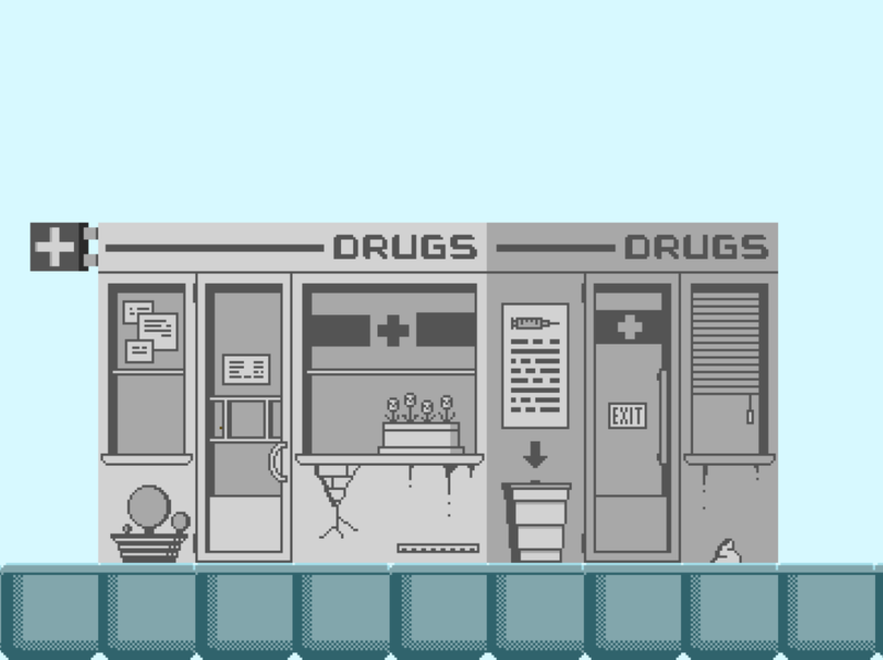 Homie The Game - Pharmacy (grey) pixelartist aseprite building gamedesign gamedev indiedev pixels pixelart
