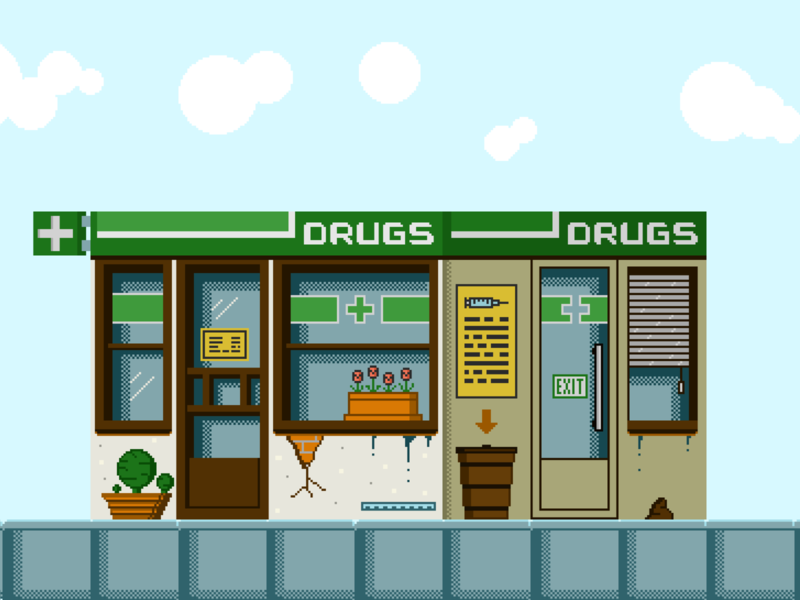 Homie The Game - Pharmacy indiedev aseprite pixelartwork digital drawing digitalart illustration indiegames pixelart