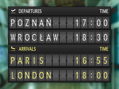 Departure/Arrival board deprature arrival board ui airplane
