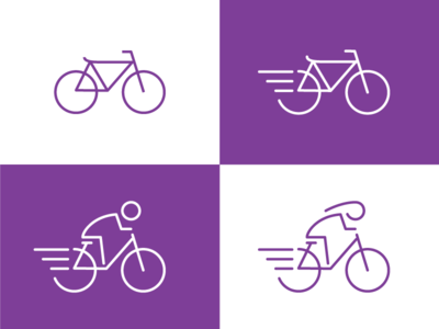 Bike Icon biker dynamic purple bicycle icons feedback design process outline icon bike