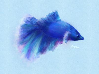 Blue swimming swim tail ipad pro ipad procreate artwork drawing blue sea water fish