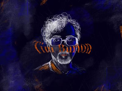 Tim Burton cinema classic director producer movie film disney bear glasses adobe photoshop freelancer freelance illustrator graphic designer illustration art design tim burton
