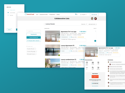 Imovirtual - Collaborative lists process figma link share collapsed card site apartments real estate comments list collab houses feature webdesign ux  ui ui ux