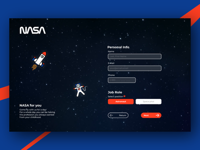 NASA form - Daily UI #001 astronaut space dailychallenge daily ui webdesign ui 001 form nasa dailyui