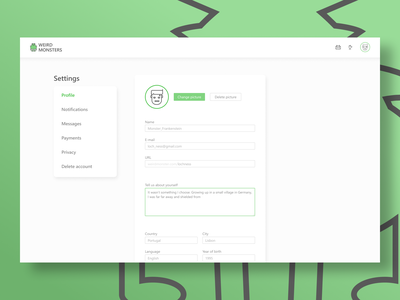 Settings - Daily UI #007 website site desktop design desktop loch ness weird monsters green white settings ui settings vector illustration design webdesign ui daily ui dailyui 007