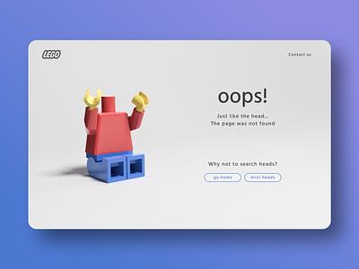 404 Page - Daily UI #008 models oops head figure lego 3dsmax 3d modeling illustration desktop design webdesign design ui daily ui dailyui 008