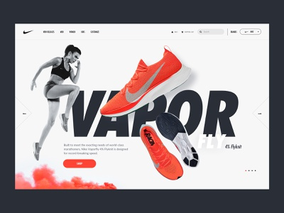 Nike Hero - Vaporfly Marathon Shoes sport web design