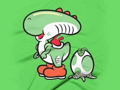 Yoshi x Alien Mashup chestburster t-shirt tshirt super mario bros parody aliens alien yoshi