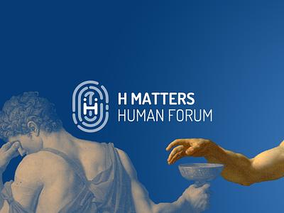 Hmatters Logo linkus monotwo conference blue logo forum human humanities fingerprint