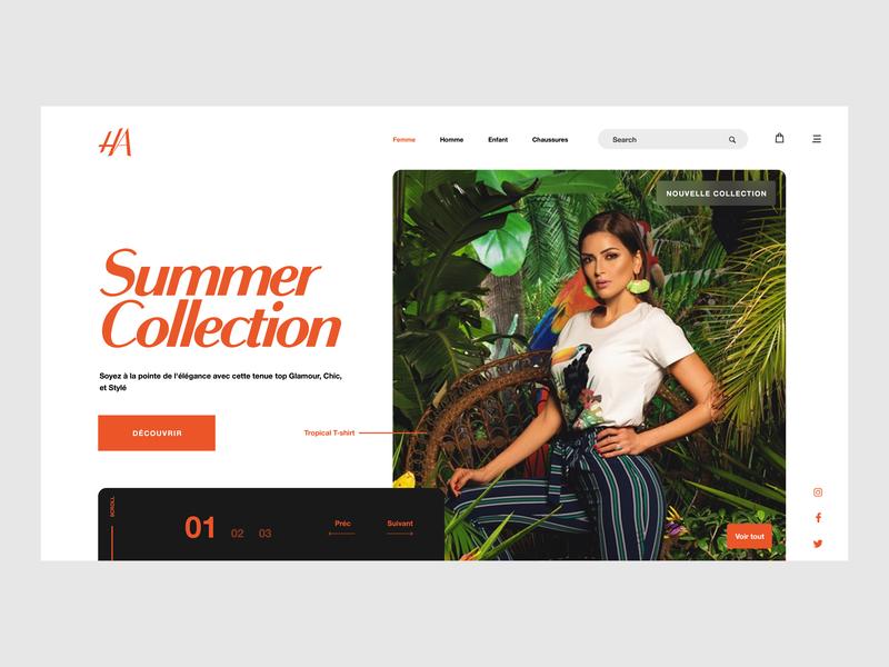 HA Hamadi Abid Website Redesign ux website design interface uxui ui branding fashion web