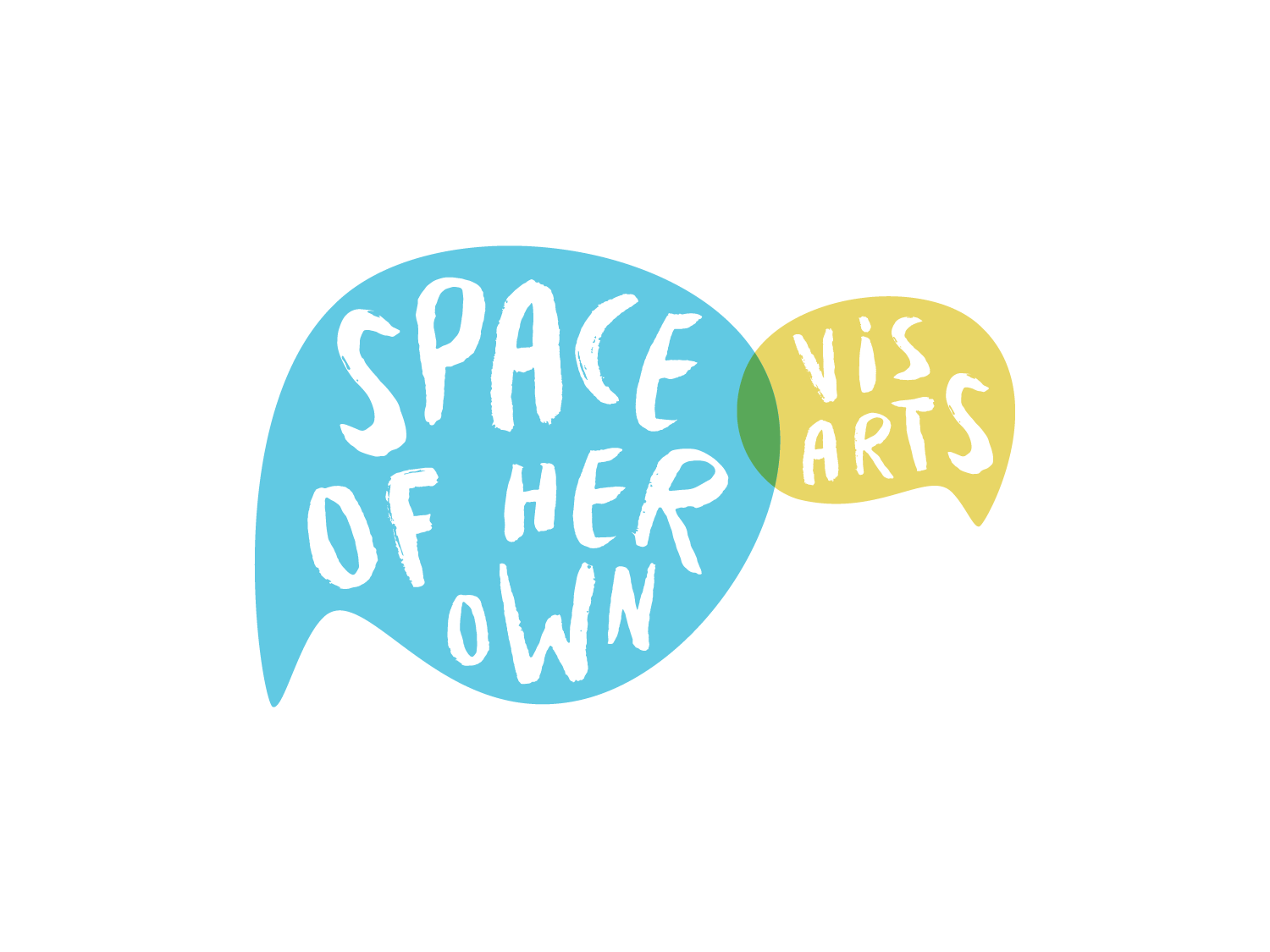 Space of Her Own mentorship mentor girls community outreach public art arts program youth nonprofit speech bubble illustration handlettering blue green colorful design logo identity branding