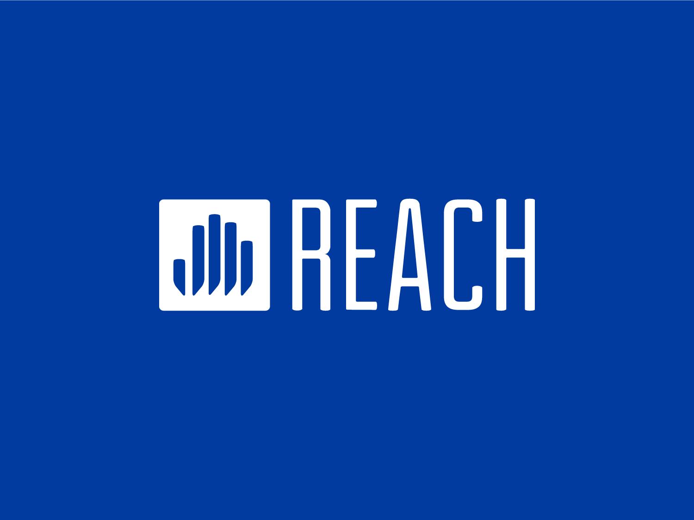 Reach Logo skyline cities city abstract hand health grant program logo blue mark design identity branding
