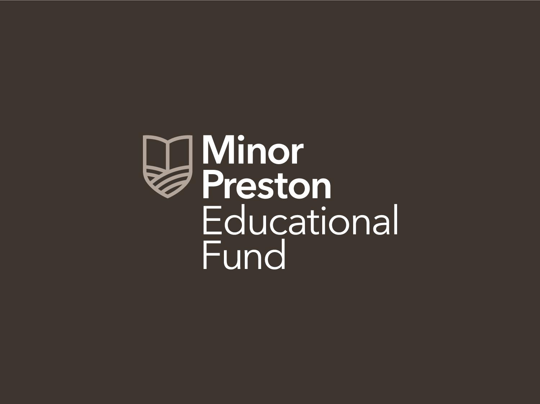 Minor Preston Educational Fund historic program emblem seal grant education farming rural farm fields book vector illustration logo mark identity branding design