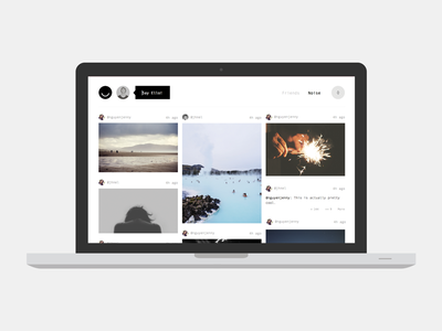 Spontaneous Ello.co redesign ello design mockup web fullscreen black and white redesign layout