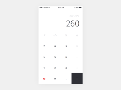 #004 – Calculator ios iphone design app calculator 004 dailyui