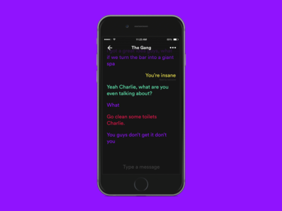 Minimal chat ft. Always Sunny colorful minimal text message conversation talk group conversational ui chat