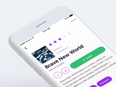 Audiobook tags rating icon play book audio detail ux ui ios