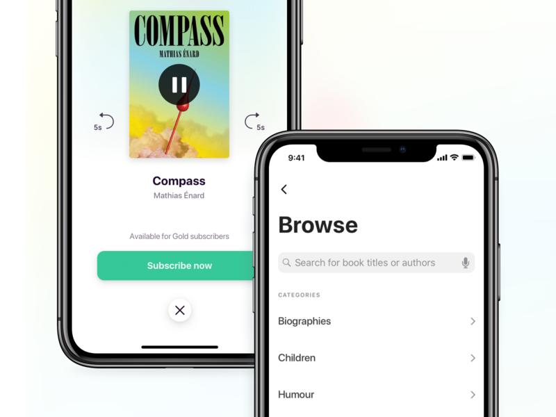 Audiobooks ux gradient design browse close overlay modal ui audiobooks search web ios