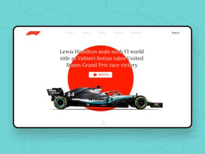F1 Main menu web ux ui typography minimalism minimal design