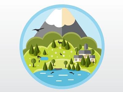 small town near the mountain vector illustration