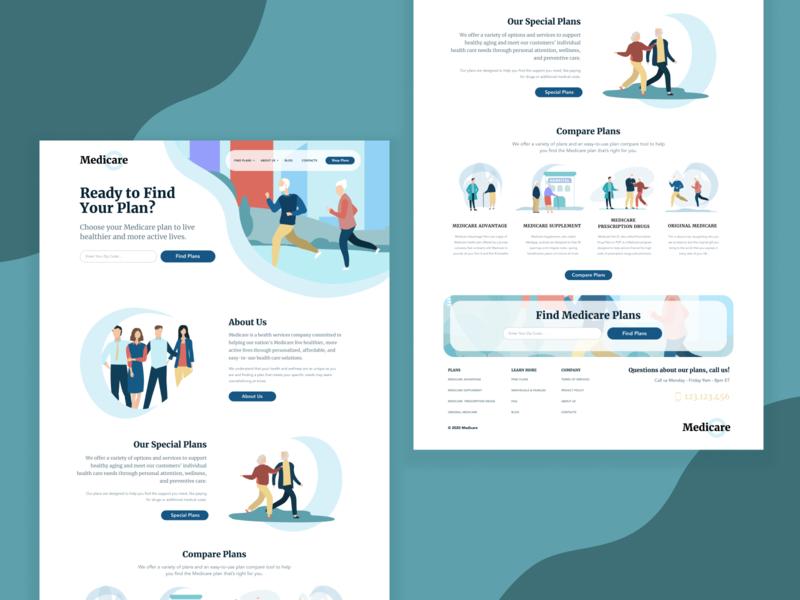 Health Insurance Website logo colorful medicine healthcare website flat vector typography ui design ux illustration design