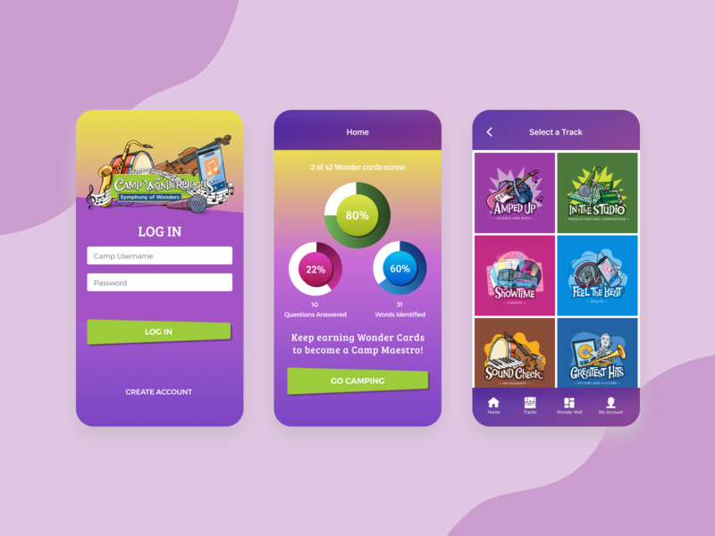 Camp Wonderopolis education app categories illustrations gradient mobile flow colorful interface ux design app ui design kids