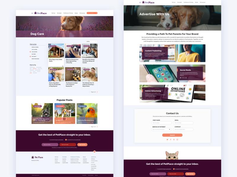 Pet Community Website categories blog cat dog ui design pet care design website pets