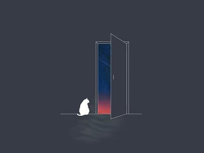 Marv in the door doodles kitty minimalist design minimalist cat design branding illustration