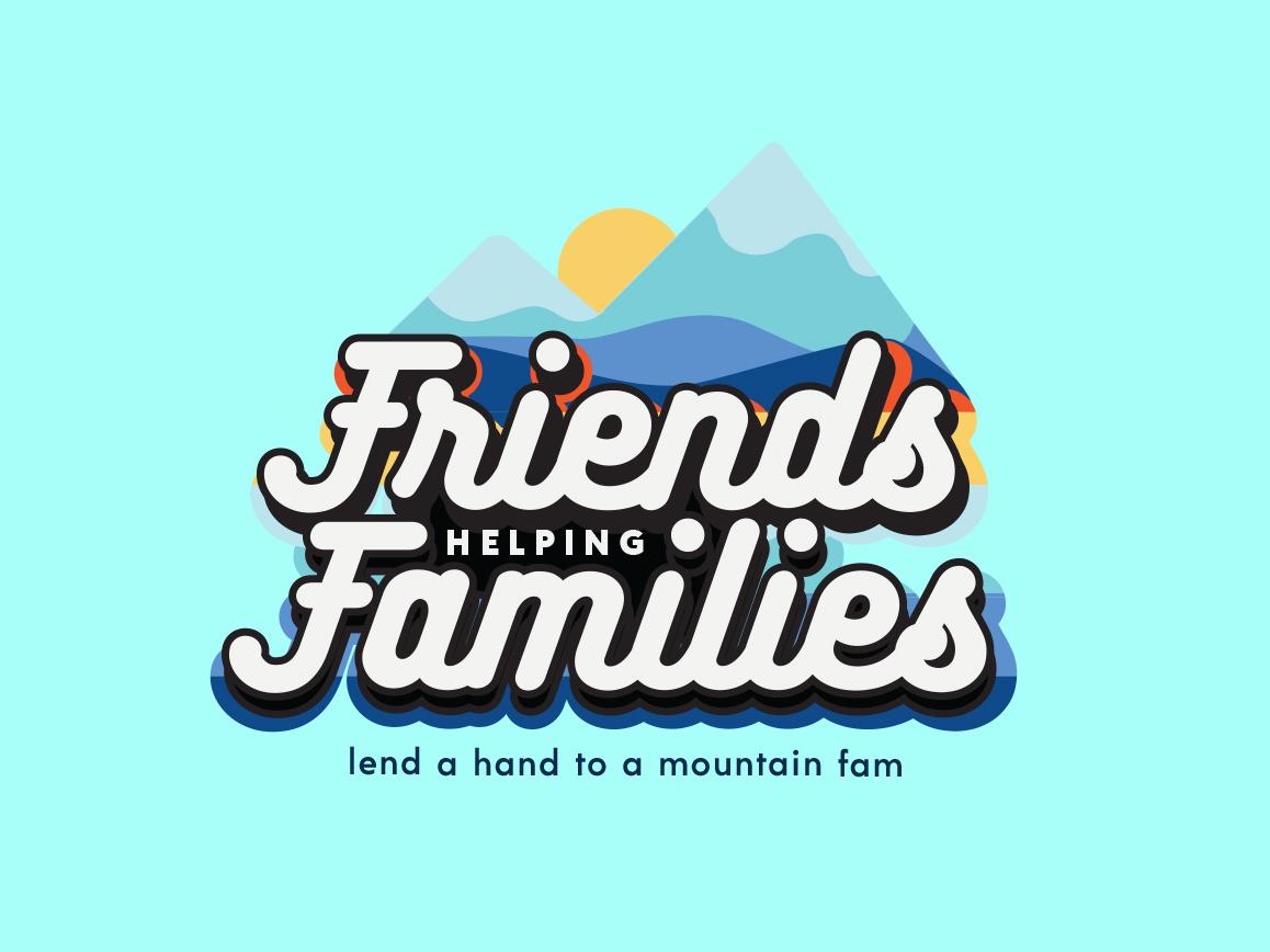 Friends Helping Families Benefit Logo mountain logo benefit branding benefit foundation foundation branding branding illustration design