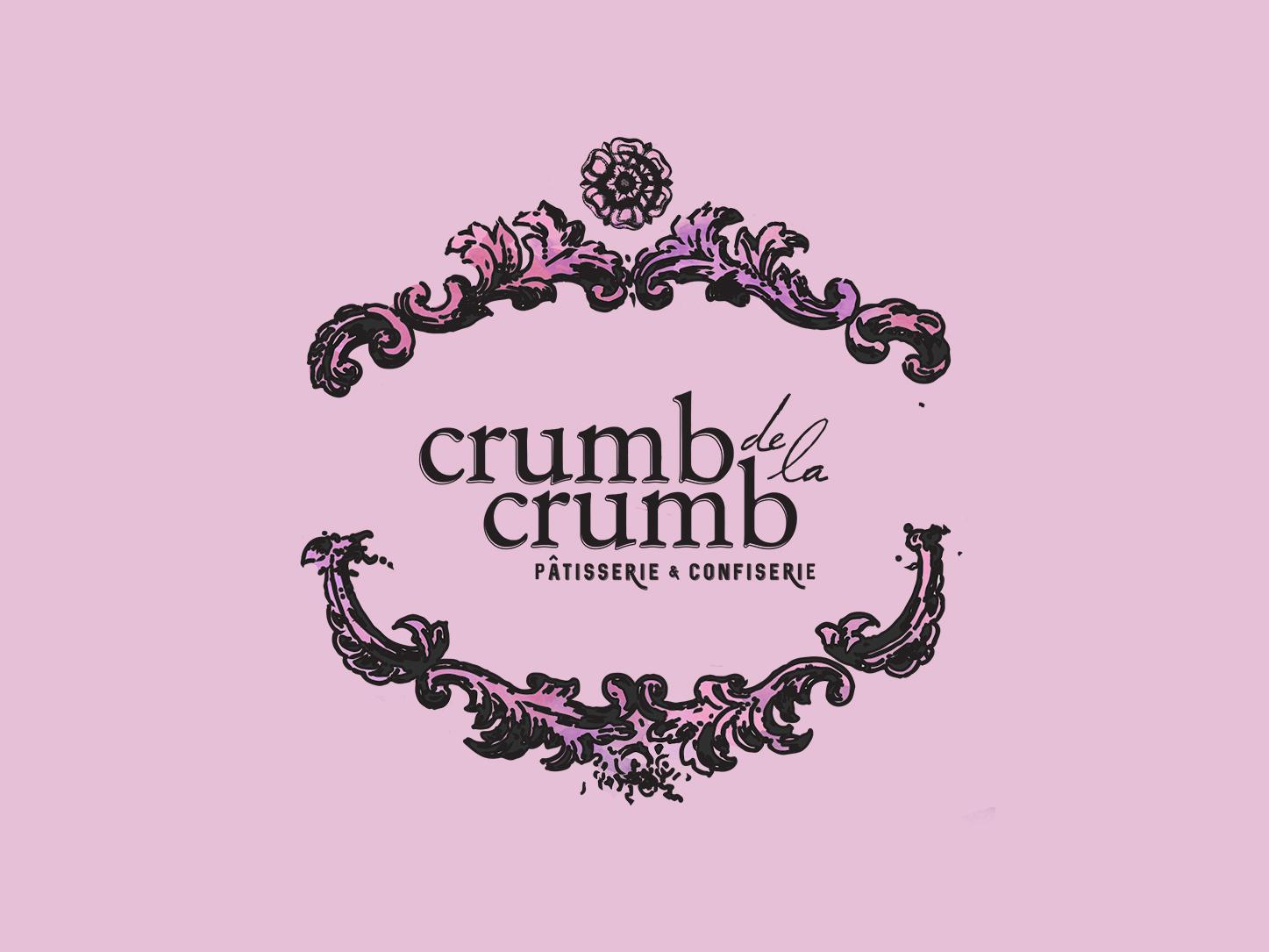 Crumb de la Crumb Bakery Logotype 1 feminine brand pink logo pink vector pink branding french bakery bakery logo vector branding illustration design