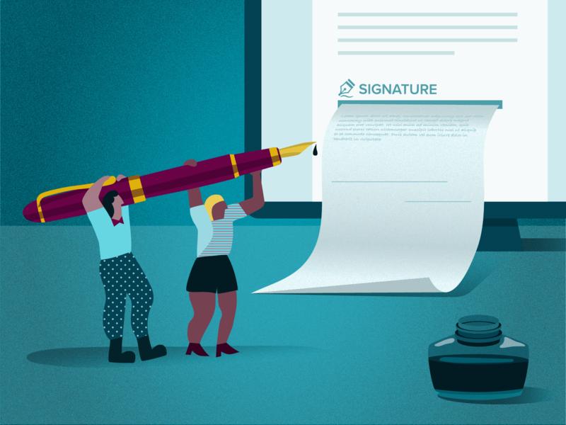 esignature electronic blue marketing sales ink esignature pen signature design web proposify illustration