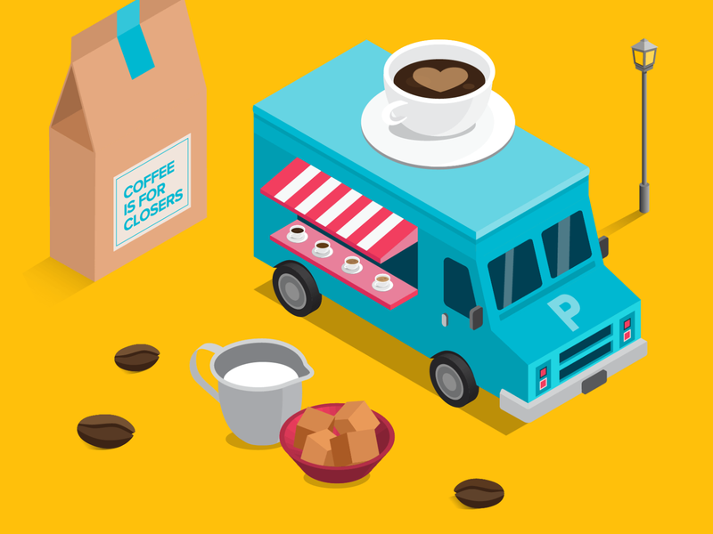 coffeetruck coffee illustration pizzabox pizza miniature work coffeebean isometric truck foodtruck coffeecup