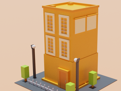Apartment design color illustration material playful dribbble building 3d blender