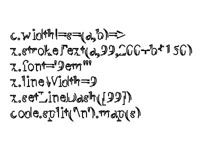 Disfigured (yet still readable) Font quine experimental typography javascript