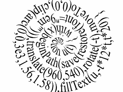 Spiral Javascript Quine Revealed programming javascript animation