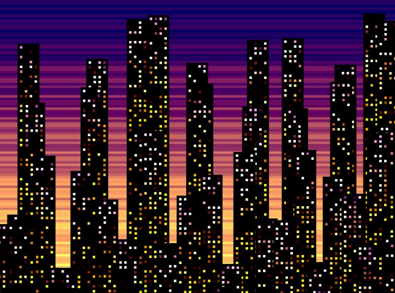 City Sunset city tinycode generative javascript