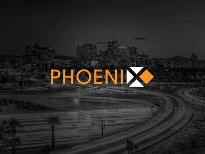 Phoenix identity typography city brand logo concept phoenix phx grid graphic design design negative space