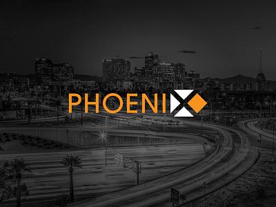 Phoenix identity typography city brand logo concept phoenix phx grid graphic design design negative space