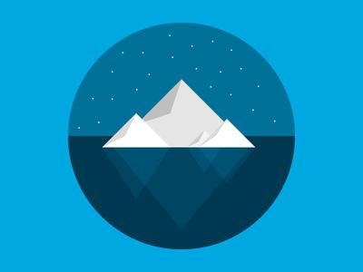 Iceberg star titanic glitter sea ocean night ice advertising ad webpt vector illustration