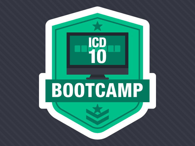 ICD-10 Bootcamp: Coding Exercises for PTs, OTs, and SLPs camp bootcamp patch army computer icd10 icon webpt blog flat vector illustration