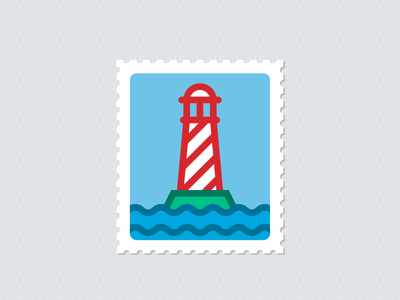Lighthouse On A Stamp illustration vector icon webpt lighthouse stamp ocean sea water light building island