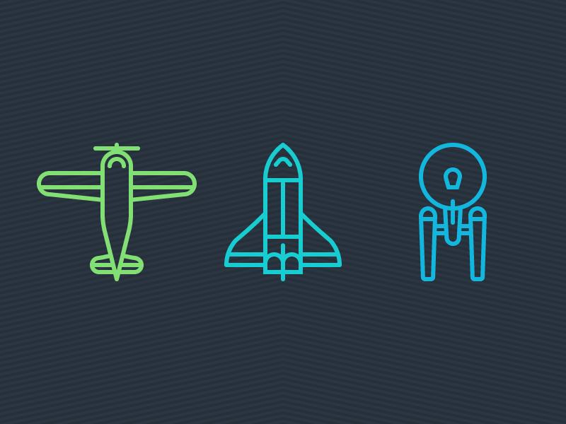 Past, Present, Future space plane nasa star trek enterprise shuttle airplane line icons flat vector illustration