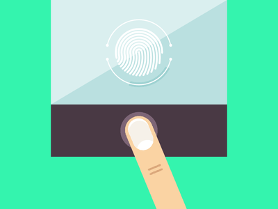 Security - Apple Touch ID finger login security ios iphone apple blog webpt icons flat vector illustration
