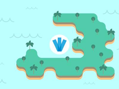 Big Splash, Little Island blog simple flat country palm tree beach ocean island haiti webpt vector illustration
