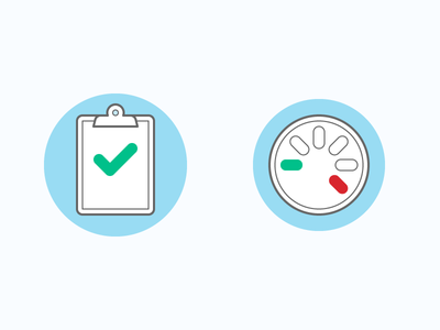 Performance Rate vs. Reporting Rate data checkmark dashboard odometer performance icon report clipboard blog webpt vector illustration