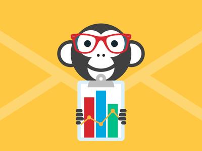 Year of the Monkey? More Like Year of Metrics  analytics clipboard envelope data hipster animal ape monkey blog webpt vector illustration